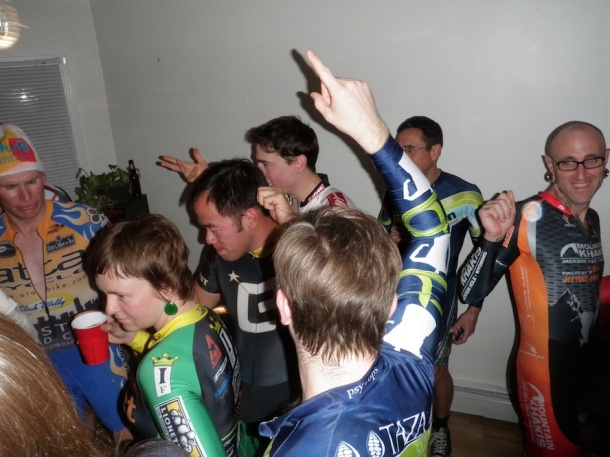 Cyclists at a party