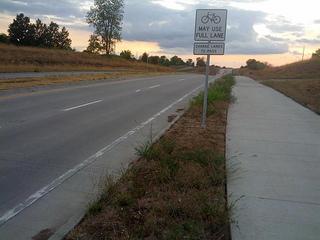 Bike lane next to a road