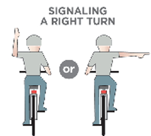 Two ways to signal a right turn on a bicycle